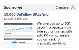 Link spammer ad on facebook