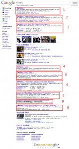 "A search for the band ""The Killers"" produces 9 organic results."