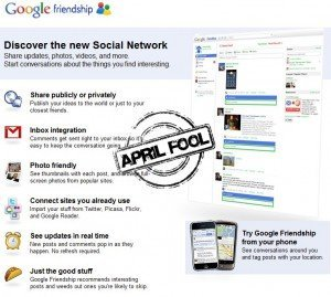 "Google Friendship - QUICKLY slapped with an ""april fool"" stamp"