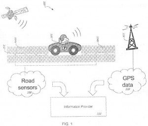 Illustration from Google Patent App showing traffic data collection from sensors
