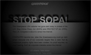 Greenpeace goes dark in progest of SOPA
