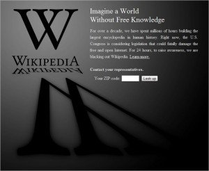 Wikipedia goes dark in protest of SOPA
