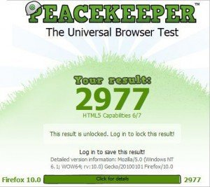 Firefox 10 scores a 2,977 in Pacekeeper's benchmarks