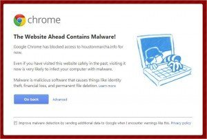 Malware warning I get when I try to visit a spam link directory.