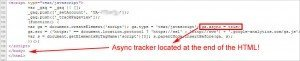"""Analytics Certified"" ""SEO"" firm's async tracker at the bottom of the code! REALLY?!"