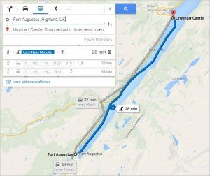 Google's Directions include riding the Loch Ness Monster.