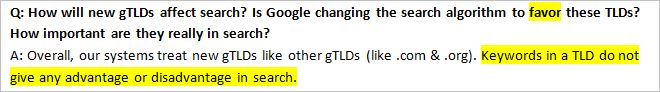 Google's Q&A about gTLDs