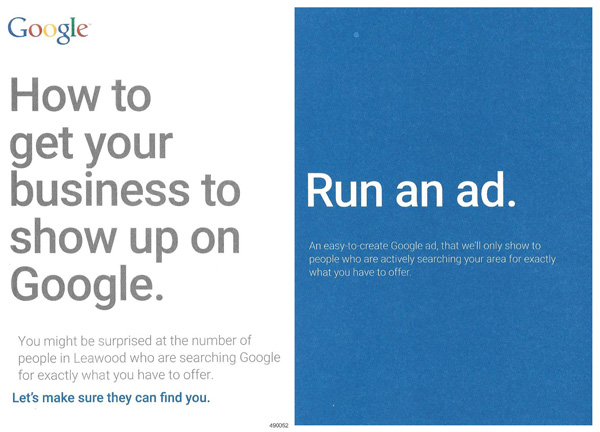 I received this card from Google AdWords in the mail today. What a depressing proposition for a small business owner.