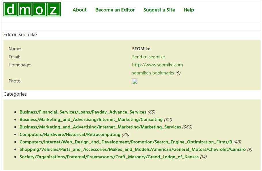 SEOMike DMOZ Categories