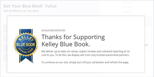 kelly blue book blocking visitors who use ad blockers