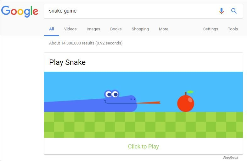 play a snake game in google