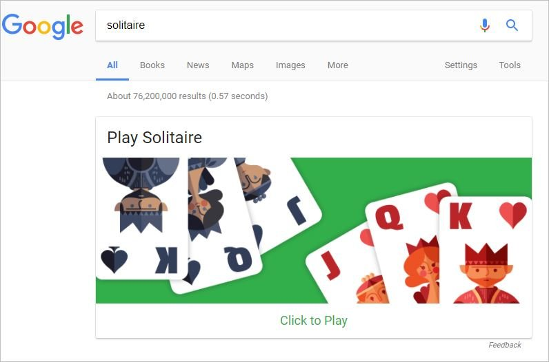 Play solitaire on Google!
